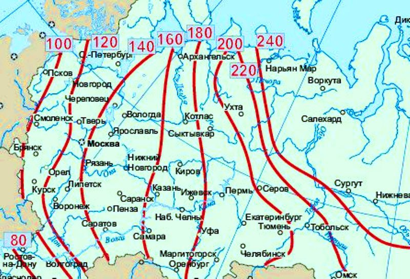 Карта промерзания почвы в регионах Роcсии